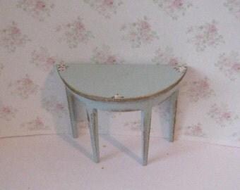 dollhouse piecrust table, small side table,  table,  Dollhouse set, twelfth scale miniature, blue table, duck egg blue, wine table,