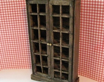Dollhouse bookcase with doors, bookcase, library, dark oak bookcase,  twelfth scale dollhouse miniature