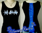 Def Leppard Band Concert Rhinestone Crystal Corset Tank Tee Top Shirt Sexy Glamou Rocks Glamourrocks
