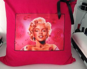 Marilyn Monroe Bubbles Strawberry Rhinestone Crystal Pillow Cover Glamour Glamourrocks bling