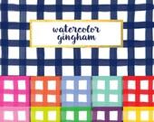New! Watercolor Gingham Digital Paper Pack (Instant Download)