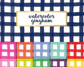 Buy2Get1Free with Code XMASINJULY! Watercolor Gingham Digital Paper Pack (Instant Download)