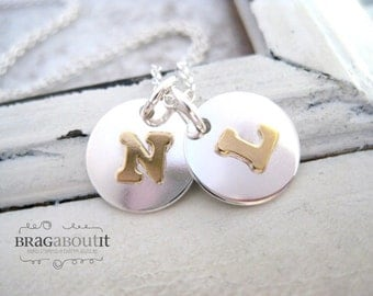 Initial Necklace .  Gold Initial . Hand Stamped Jewelry . Personalized Jewelry . Brag About It . Touch of Gold Initial Necklace