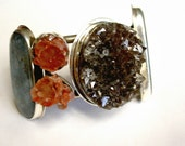 Smoky Quartz Kianite and Aragonite Sterling Cuff Bracelet