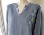 Women's Appliqued Sweatshirt, Washed Navy Sweatshirt, Simple Design Sweatshirt,  Pigment Dyed Sweatshirt, Altered Sweatshirt