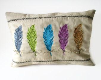 Appliqued Feather Pillow, Accent Pillow,  Aztec Decor,  Appliqued Pillow, Free-Motion, Multi Colored Feather Pillow