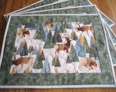 Quilted Placemats with Pine Trees, Elk, Moose and Bears - Set of 4