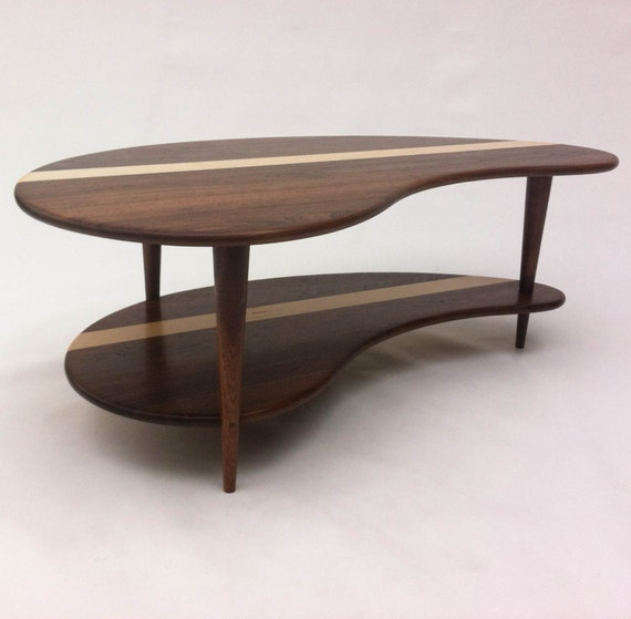 Mid Century Modern Coffee Cocktail Table Solid Walnut With
