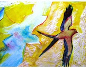 Surreal painting bird watercolor art print flying bird collage art yellow and blue color