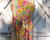 Vintage 60's floral handmade pinup dress M L