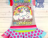 HAPPIER than UNICORN - a dress made out of unicorn tshirt super cool funky recycled upcycled  pieced  size 3 (other sizes also available )