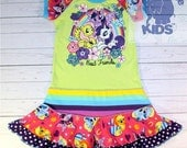 Best Friends - a  dress made out of authentic My Little Pony tshirt super cool funky recycled upcycled  pieced  size 5