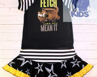 Fetch like you mean it - a dress made out of authentic Secret life of pets tshirt cool funky  upcycled size 7/8