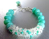 BIGGEST SALE EVER Peruvian Opal and Moonstone Chunky Cluster Bracelet