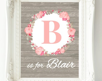 Girls Wall Art, Coral Gray Nursery Wall Decor, Baby Girl Nursery, Nursery Decor Girl, Personalized Baby, New Baby Gift, Girl Room Decor