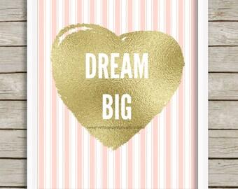 Dream Big Nursery Printable, Nursery Art, Nursery Wall Decor, Blush Pink and Gold Nursery Decor, Instant Download, Baby Girl Nursery Art