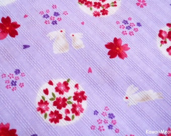 Kimono Japanese Fabric - Sakura Rabbit on Purple - Fat Quarter - (ma151005)
