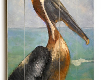 Pelican Painting Giclee Print on Wood Planks, Beach Wall Decor,  free shipping, choose your size, ready to hang, No Frame Required