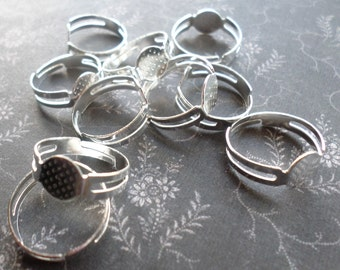 Silver Ring Flatback Blanks 8mm - 10 Silver Plated Ring Blanks 8mm - Adjustable Size 5 6 7 8 Nickle Free