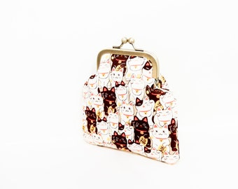 Coin Purse, Metal Frame Coin Purse, Small Purse, Lucky Cats Snap Pouch, Kisslock Pouch, Pouch, Fabric Pouch, Small Pouch, Lucky Cats Beige