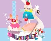 LARGE Children's nursery wall art, fairytale swan cupcake print, girls bedroom artwork - 'Cupcake Delivery' by Schmooks