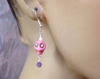 Scull earrings Halloween scull funky sculls Steampunk Day of the dead earrings pink scull pink-purple crystals