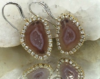Tabasco Geode Druzy Dangle Earrings Auburn Lavender Crystal Raw Gemstone Mineral Diamond Slice Swarovski Crystal - Viola