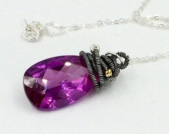 Kunzite Pendant Necklace Wire Wrap Coiled Purple Violet Gemstone Pendant Dangle Minimalist Jewelry Coiled Kunzite Quartz Pendant Layering