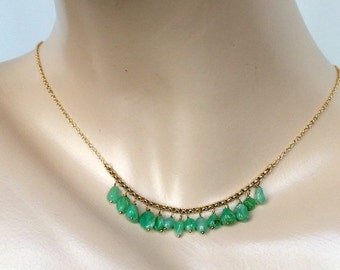 50% OFF SALE Green Chrysoprase Dangle Necklace Gold Fill Wire Wrap Fringe Necklace Green Stone Layering Necklace Boho Chic Necklace