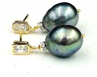 Black Baroque Pearl Earrings Gold Vermeil CZ Post Earrings Black Pearl Drop Earrings Mixed Metal CZ Rondelles Pearl Wedding Jewelry