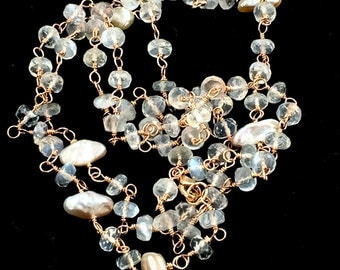 Moonstone Long Wire Wrap Rosary Chain Necklace Ceylon Moonstone Blush Keishi Pearl Bohemian Jewelry Layering Necklace