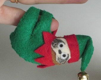 Christmas Sloth READY to SHIP miniature felt bendable stuffed animal - rain forest animal