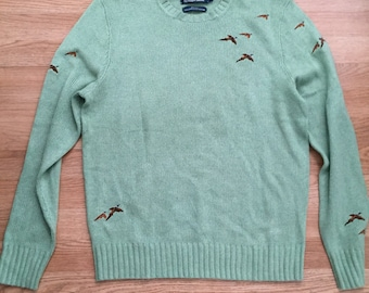 Vintage Ralph Lauren boyfriends silk  bird long winter sweater oversized size large