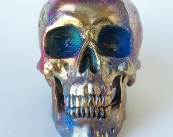 Skull Statue, Head, Goth Room Decor, Office Accessories, Geekery, Painted Skull Sculpture, Anatomy, Tribal Human Head