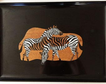 Couroc of Monterey Large Rectangular Tray, Zebras Serving Platter, Vintage Tray, Retro Housewares