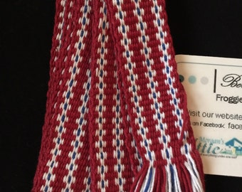 Handwoven Inkle Loom Sash 100% Cotton. Costume accessory for SCA, Renn Faire, or Mountain Man events.