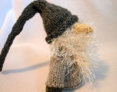 Little Gnome Hand Knitted in Silver and Dark Gray, Doll, Fantasy, Good Luck, Home Decor, Holiday Decoration
