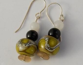 Earrings Lampwork olive green 3 beads drop sterling ear wires