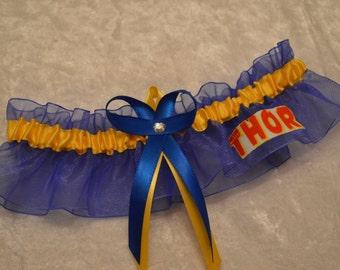 Handmade wedding garter keepsakeTHOR Super Hero wedding garter