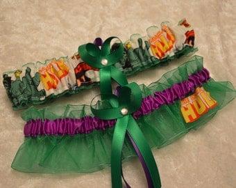 Handmade wedding garters keepsake and toss HULK wedding garter set