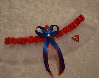 Handmade wedding garter keepsake SUPERMAN Super Hero wedding garter