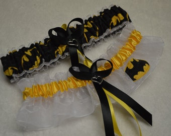 BONUS Batman handmade wedding garter set with BONUS Ladies sexy white lace back panties Batman with bow lingerie panties