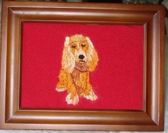 Cocker Spaniel Dog Portrait Hand Embroidered and Framed