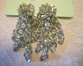Vintage Sequin Dangle  Clip on Earrings