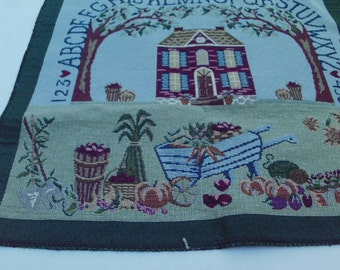 Large Woven Tapestry Fabric Panel Sampler Alphabet Numbers House Harvest