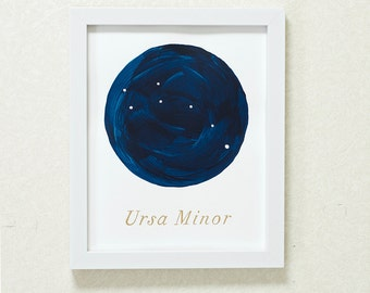 Watercolor Constellation Little Dipper Painting Ursa Minor - 8x10, 9x12