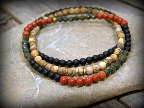 mens bracelet, Mens Jewelry, Stretch Bracelet, mens beaded bracelet,  Stack Bracelet, bracelet for men, Native American, mens bracelet set