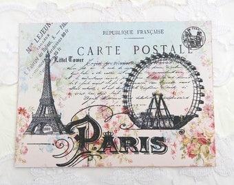 Note Cards- Blank Note Cards, Ferris Wheel Paris Vintage, Carte Postale, Happy Birthday - Bridal Shower - Birthday -Thank You-