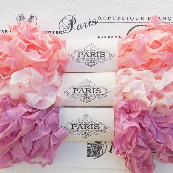 Seam Binding, Scrunched Ribbon, Shabby Ribbon, Crinkled Ribbon, Rayon Ribbon,Pink,French Vintage,Crazy Quilting,Scrapbooking,Le Petit Shoppe