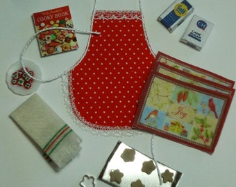Holiday Kitchen Accessories Set with Red Doted Apron and Bird Place Mats